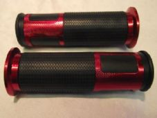 Bar grips rubber and red alloy grip rings for 22mm 7/8 bars 380